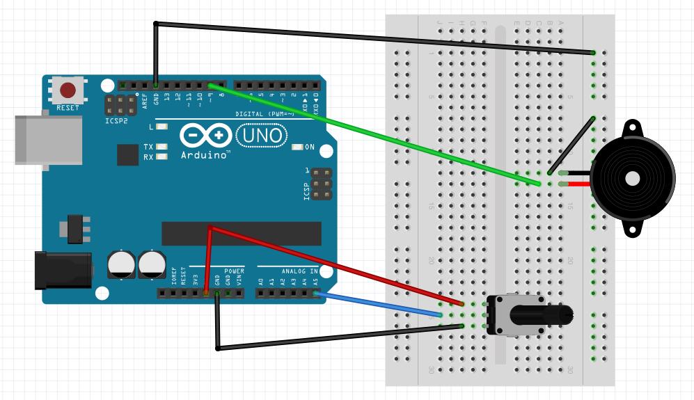 buzzerin this project you will change the sensor to a potentiometer a potentiometer is a really a variable resistor just like the photo resistor is